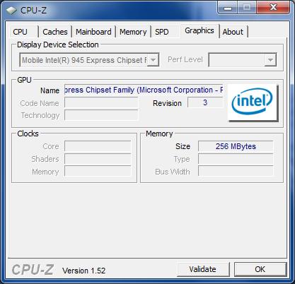 CPU-Z 1.52 グラフィック